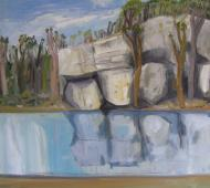 High altitude water I Falls Creek Vic 2019 oil on canvas 85cmx85cm