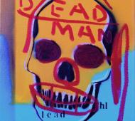 Johnny Romeo Dead Man Lead 2008 enamel acrylic and oil on canvas 40.5cm x 46cm