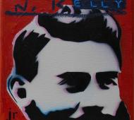 Johnny Romeo N.Kelly 2010 enamel acrylic and oil on canvas 25.5cm x 25.5cm