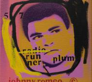 Johnny Romeo Runner Plum 2008 enamel acrylic and oil on canvas 31cm x 31cm