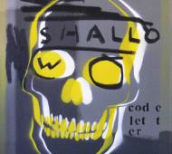 Johnny Romeo Shallow Code Letter 2008 enamel acrylic and oil on canvas 40.5cm x 46cm