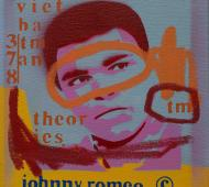 Johnny Romeo Viet Batman Theories 2008 enamel acrylic and oil on canvas 31cm x 31cm