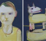 Boy and doggy I+II acrylic on canvas 41cm x 30.5cm x 2cm
