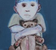 Boy holding bear acrylic on canvas 61 5cm x 41cm x 2cm 2
