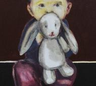 Boy holding rabbit acrylic on canvas 61 5cm x 41cm x 2cm