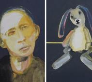 Man and rabbit I+IIacrylic on canvas 41cm x 30.5cm x 2cm