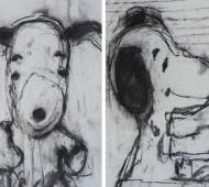 SnoopyI+II charcoal on canvas 35 5cm x 25 5cm x 2cm